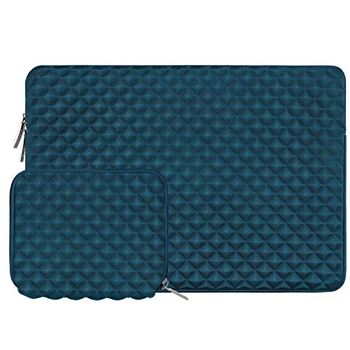 MOSISO Sleeve Hülle Kompatibel 13-13,3 Zoll MacBook Air, MacBook Pro, Notebook Computer mit Klein Fall, Wasserabweisend Neopren stoßfest Diamant-Muster Schaumpolsterung Laptoptasche, Deep Teal