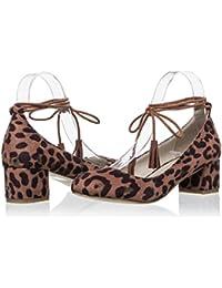 Zapatos de Tacón con cordones al tobillode vestir para mujer Leopardo
