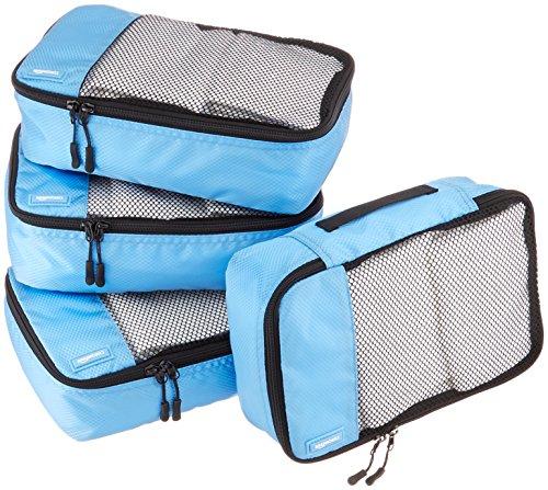 AmazonBasics Lot de 4sacoches de rangement pour bagage TailleS, Bleu Ciel