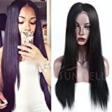 "Sunwell 7A Grade Silky Natural Straight Brazilian Virgin Human Hair Glueless Lace Front Wigs With Baby Hair For Black Women Natural Color (20"", Lace Front Wigs)"