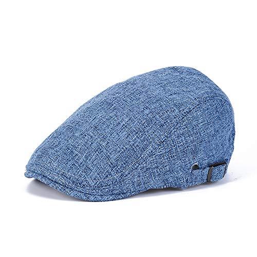 | Schirmmütze mit Baumwolle | Herrenmütze mit UV-Schutz 40+ | Mütze im Vintage-Look | Schiebermütze Sommer/Winter | Flat Cap Blau 56-60cm ()