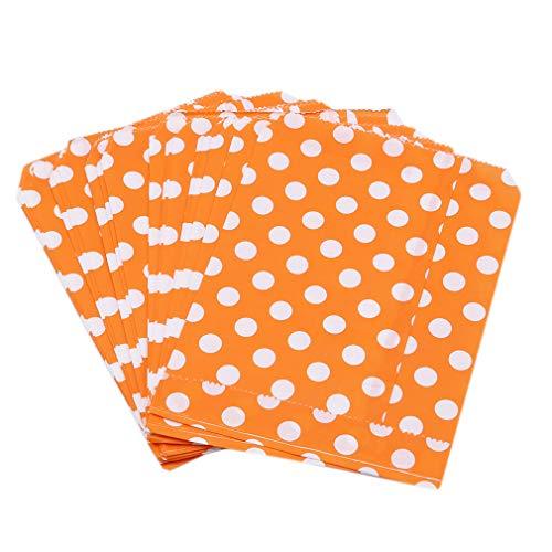 LIXIAQ1 25 Stück Partytüten Geschenkstreifen und Punktpapiertüten Einkaufstüten Ideal für Geschenkeladen, Hochzeitsbevorzugungen, Bonbonwagen, Buffets usw, Polka Dot Orange (Orange Dot Polka)