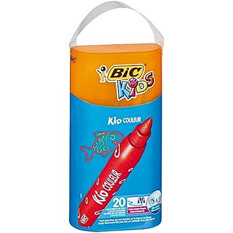 BIC Kids Kid Couleur Feutres de Coloriage - Boîte Refermable de 20