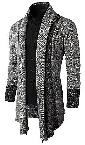 Minetom Herren Lang Geschnittene Schlichte Strickjacke Cardigan Beiläufige Knit Mantel Offene Basic Jacke Sweatshirt Sweatblazer Hoody Grau DE 50