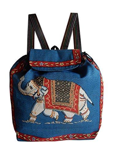 Ariyas Thaishop, leichter Rucksack handgewebt mit Elefanten Muster (Hippie-windel-taschen)