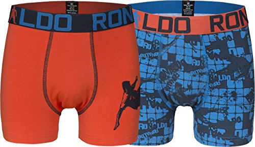 CR7 Cristiano Ronaldo BOYS Boxershorts Jungen 2-Pack (CR7-8400-5100-503-158/164) (Boy Shorts Orange 2)