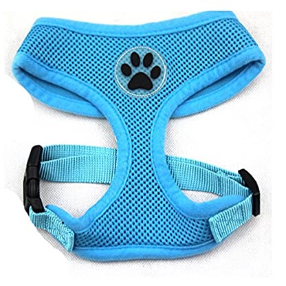 PUPTECK Soft Mesh Adjustable Pet Walking Harness for Dogs Blue Extra Large 1