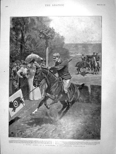 La Reine 1901 de Porc-Collage de Sport de Cheval de Gymkhana Amsterdam par original old antique victorian print