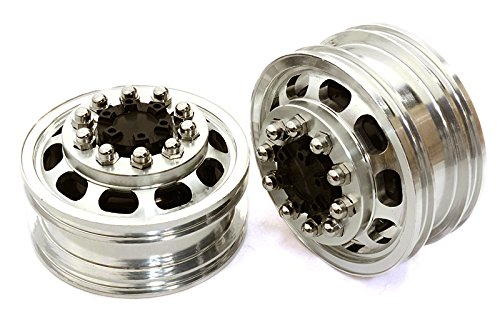 INTEGY RC Model Hop-ups c26589black Billet Machined Alloy T5 Front Wheel Set for Hex Type 1/14 escaleras Tractor Trucks