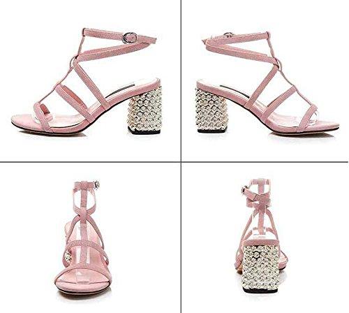 Onfly Donne Pelle di pecora Aprire il piede Fibbia della cintura Mary Jane Tacchi alti Sandali Cinturino alla caviglia Tacchi alti Sandali Pink