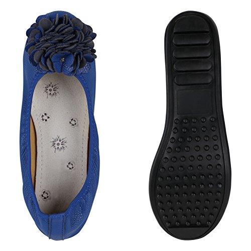 Damen Ballerinas Übergrößen Zweitschuhe Flats Slipper Blau
