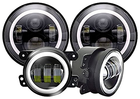 AUSI 7inch Daymaker LED Headlights with White DRL/Amber Turn Signal + 4 inch LED Fog Lights Passing Lamp with White DRL Halo Ring 60W