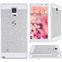 Galaxy Note 4 N9100,Galaxy Note 4 Tapa,Asnlove Carcasas y funda policardonato dura brillo case diseño bling brillante tapa trasera para Samsung Galaxy Note 4 N9100-Plateado