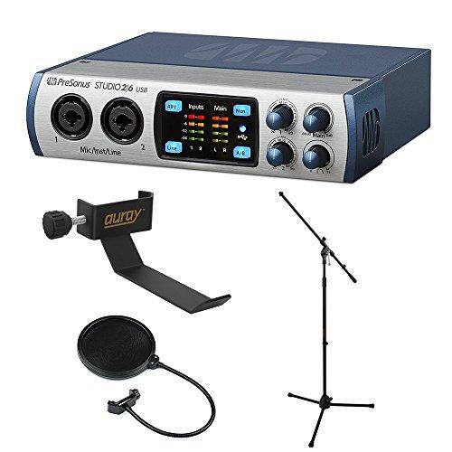 PRESONUS Studio 26-2x 4192kHz, USB 2.0Audio/MIDI-INTERFACE mit cohh-2Klemme am Kopfhörer Halterung Stativ ms-5230F Mikrofon Ständer und Pop Filter (Presonus Studio Mic)
