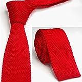 Cravate en tricot pour hommes et femmes, version étroite, cravate en tricot décontracté, cravate en laine 28 couleur orange rouge 145 * 6cm