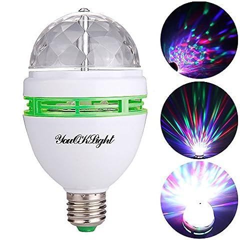 YouOKLight 3W E27 RVB couleurs changeantes Effet boule de cristal lampes DJ Disco LED rotatif scène automatique pour les fêtes, les clubs, les bars et à la maison AC 85-265V