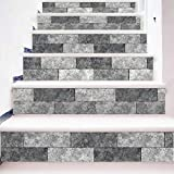 Sencillo Vida 3D Pegatinas de escalera Antideslizante Impermeable auto adhesivo pegatina de pared vinilo decorativo Ladrillo de simulación Stair Sticker Steps Sticker, 6Pcs/Set