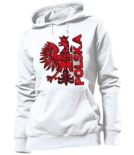 love-all-my-shirts Polen Polska 3204 Fussball Fanhoodie Frauen Damen Hoodie Pulli Kapuzen Pullover Fanartikel Kapuzenpullover Weiss M