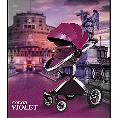 High landscape Luxury PU leather Strollers Trolley Pushchair Portable bidirectional folding baby carriage can sit & lie