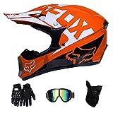 NJMSC Motocross Motorrad Motorradhelme und Handschuhe & Goggles DOT Zertifizierung Kinder Quad ATV...