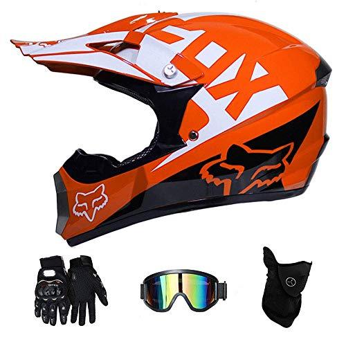 NJMSC Motocross Motorrad Motorradhelme und Handschuhe & Goggles DOT Zertifizierung Kinder Quad ATV Go-Kart-Helm, Orange, M (54~55cm) (Kinder-go-kart-helm)
