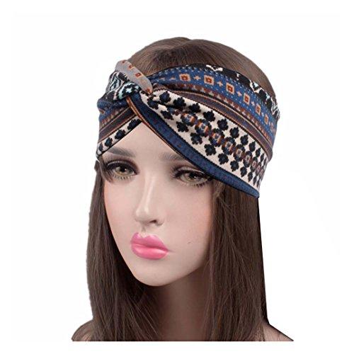 Qinlee Elastische Stirnband Ethnisch Stil Muster Haar Accessoires Mädchen Haarband Modegeschenk Sport Haar Band Frisuren Haar Accessoires (Blau)