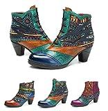 Socofy Botines De Cuero, Zapatos De Invierno De Cuero para Mujeres Botas Oxford Ocasionales Botines Cálidos con Botas De Bohemia Zapatos De Tacón De C