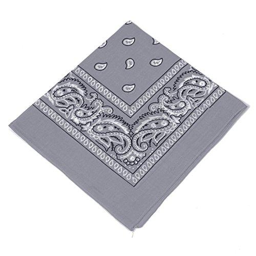 Boolavard Bandana Kopftuch Halstuch - gemustert: Paisley Muster - 100% Baumwolle! (Grau) (Baumwolle Muster 100%)