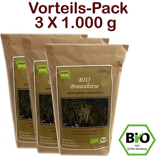 BIO Braunhirse Gemahlen   VORTEILSPACK (3 x 1.000 g)   Vom Biohof Beck   Kalt-Vermahlen   Wildform   Urhirse