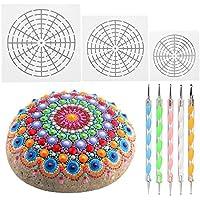 Mandala Painting Tool Kit with 5 Dotting Tools and Mandala Dotting Stencils Mylar Painting Templates for Rock Painting 8/12/16 Segment