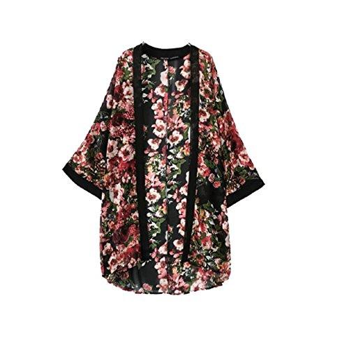 Malloom® Mujeres Floral Flor borlas mantón Kimono Blusa Escudo Cardigan Tops (1)