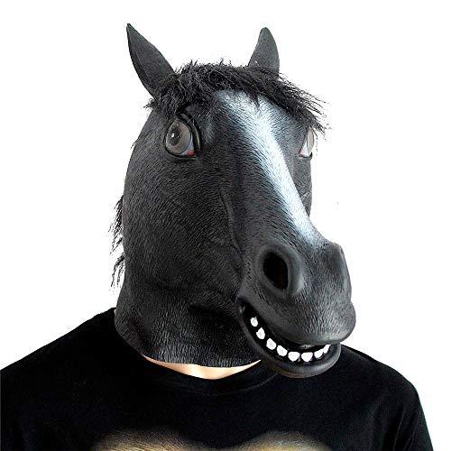e Pferdekopf Maske Schwarz Latex Pferdekopf Maske Kostüm Halloween Kopf Maske Schwarzes Pferd ()