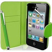 Funda de Cuero Piel para Smartphone Apple iPhone 4 / 4S. Diseño Billetera en Color Verde con Cierre Lateral Magnetico. Carcasa Protectora Flip Case Cover + Protector de Pantalla, Paño de Pulido y Lápiz para Pantalla ( No compatible con Apple iPhone 5 )
