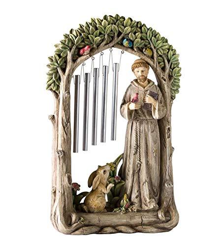 St. Francis in a Garden Figur mit Windspiel, 8,5 L x 3 B x 13,25 H