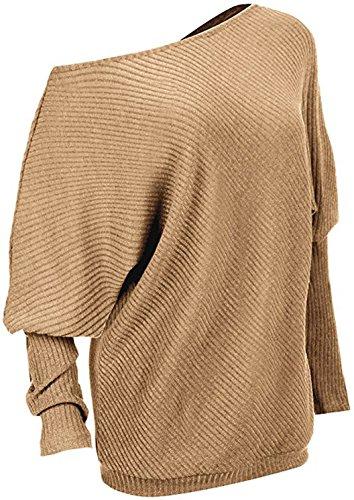 Newlife Donna Maglioni Senza spalline pullover Sexy Maglietta Sciolto Sweatshirt casual Tops Autunno Maglione Cachi