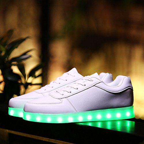 DoGeek -Chaussure Baskets Lumineuse Homme Femme -7 Couleurs LED Blanc