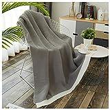 Decken Gestrickte einfarbig Weichen Flauschigen gemütlichen Sofa Bett Stricken Schal 130 * 170 cm WYQLZ (Farbe : Hellgrau)