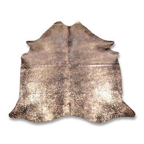 Premium Kuhfell-Teppich - L212 x B193 cm - schwarz gold gesprenkelt - einmaliges Naturprodukt aus Südamerika