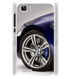 Luxury Blue Car Wheel Soft Silicon Rubberized Back Case Cover for Vivo Y27L