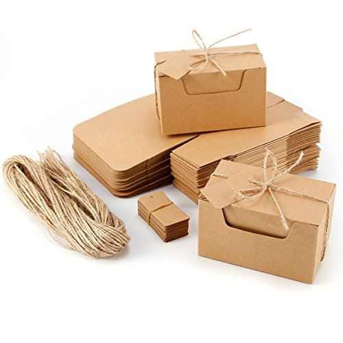 ier Geschenkbox Geschenkschachtel Kartonage 10x6x6cm Geschenkverpackung Cupcake Box Aufbewahrungsbox Gastgeschenk mit Geschenkanhänger Hochzeit Party Tischdeko ()