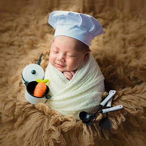 Baby Koch-kostüm (Neugeborenes Baby Kochmütze Jungen Mädchen Fotografie Requisiten Outfits Weiß Koch Chef Kostüm Foto Schießen Kopfschmuck)