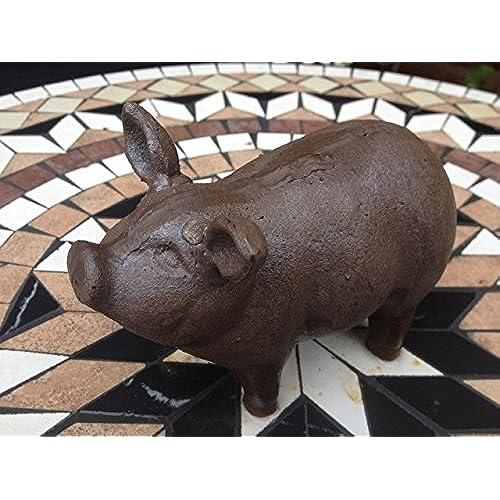 Beau CAST IRON RUST COLOUR FAT PORKY PIG GARDEN ORNAMENT