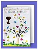 Feste Feiern zur Kommunion I 5 Teile Danksagung Doppelkarten mit Briefumschlägen I Lebensbaum Pokal mehrfarbig metallic