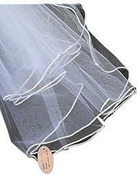 Élégant voile de mariéee en tulle à 2 épaisseurs avec bordure. Produit offert par NYfashion101.