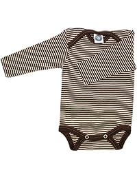 Cosilana Body 70 % laine 30 % soie pour bébé -  Marron - Marron à rayures - 3 ans
