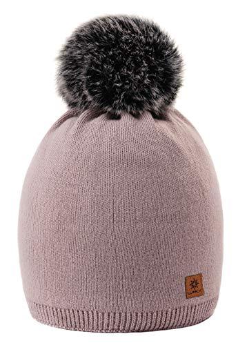 MFAZ Morefaz Ltd Mujer Beanie Sombrero De Invierno Bouchon Lisse Pompón  Forro Polar Esquí de Moda 0a9f83987a81