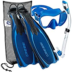 Cressi Reaction Palmes EBS réglable Masque Tuba sec Scuba Gear Set Bleu Bleu XS/S