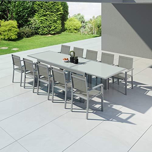 Avril Paris Hara XXL - Table de Jardin Extensible Aluminium 200/320cm + 10 fauteuils textilène Argentée
