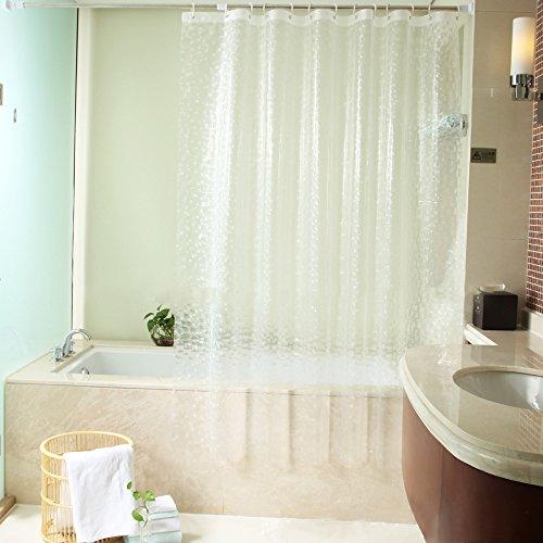 ShowPower Nr.1018 Duschvorhang 3D Kieselsteine, EVA Wasserdicht, Halb-transparent Klar, Anti Schimmel, 240 x200cm mit Frei 12 Ringe, Bad Vorhang für Badezimmer (Kieselsteine Duschvorhang)