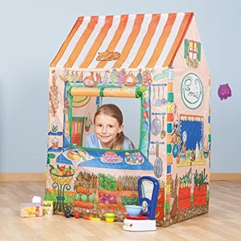 Children Indoor Outdoor Pretend Play Hospital, Ice Cream & Mini Food Grocery Shop Pop Up Toy Tent Polyester Play Town Kids Fun Activity Xmas Birthday Gift (Mini Food Shop Play